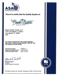 ASA certification document - Beach Aviation Group Vero Beach Florida - Aircraft Parts Supplier
